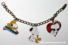Snoopy in Boat, Snoopy & Woodstock shaking hands and Snoopy with Heart Charm Bracelet