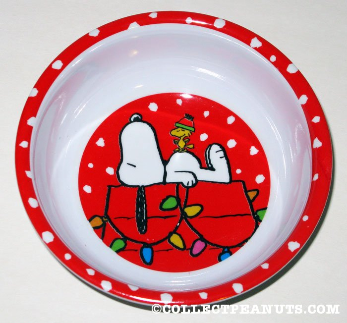 Snoopy & Woodstock on lighted doghouse Christmas Bowl
