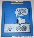 Snoopy & Woodstock in stadium blanket with 'Rah' signs Binder & Clipboard