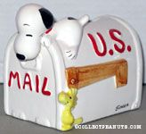 Snoopy leaning over a mailbox Planter