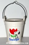 Snoopy standing next to tulip Wire-handled Planter