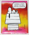 Snoopy on Doghouse '...give up this mad carefree existance' Plaque