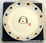 Snoopy portrait with Japanese stamp Ceramic Plate