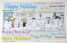 Charlie Brown & Patty Happy Holidays from Charles M. Schulz Museum Postcard