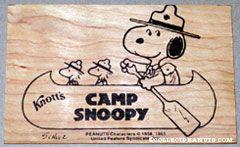 Knott's Camp Snoopy Wooden Postcard