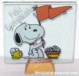 Snoopy with Pennant, Beer and Popcorn Glass Picture in Stand