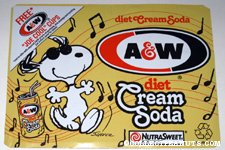 Snoopy Joe Cool dancing A&W Diet Cream Soda Box Side