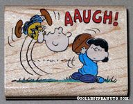 Lucy pulling Football from Charlie Brown Rubber Stamp