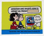 Lucy & Linus watching TV and listening to Woodstock Sticker