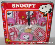 Snoopy & Woodstock Red & Pink Gingham Tea Set & Toaster