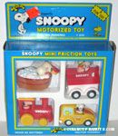 Snoopy Friction Car Set - Train Engine, Taxi, Doghouse and Bathtub