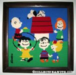 Peanuts Gang around Snoopy's Doghouse Finished Needlepoint Picture