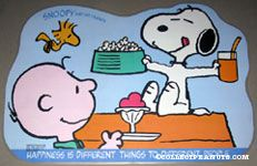 Snoopy on Doghouse with treats Placemat