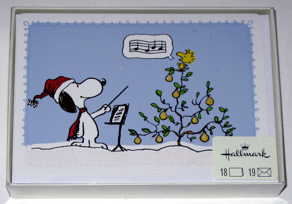 Snoopy Amp Woodstock In A Pear Tree Christmas Cards