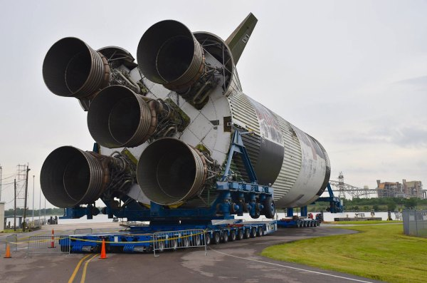 Mission S-IC: NASA Saturn V moon rocket stage moving to ...