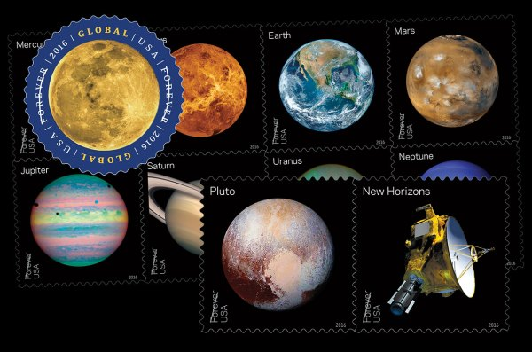2016 U.S. stamps: Moon, planets and Pluto - collectSPACE ...