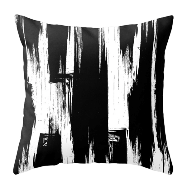 OPHELIA THROW PILLOW BLACK AND WHITE BOLD ABSTRACT BRUSHSTROKE SATIN COLLEEN FERGUSON DESIGN CALGARY INTERIOR DESIGNER