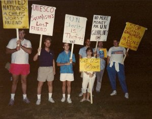 UN protest at UCI by YAF, circa 1991.