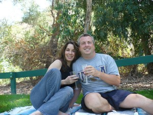 Jeff and I enjoy some vino and a casual small picnic at Carbon Canyon Regional Park on Labor Day 2008.