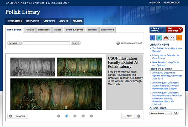 Pollak Library Home Page January 2013