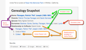 Genealogy Snapshot Box Diagram