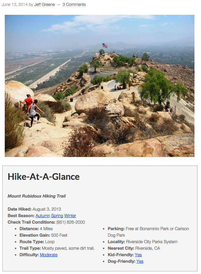 Hike At A Glance box