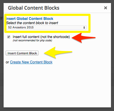 Copy Global Content Block Versus Insert