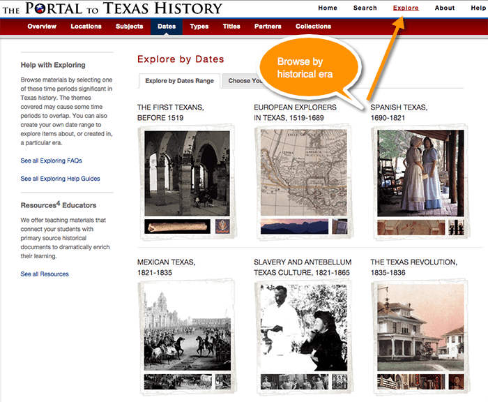 Portal to Texas History, Browse by Era