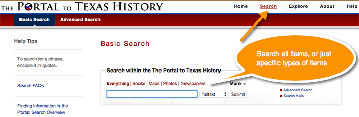 Portal to Texas History, Search Feature