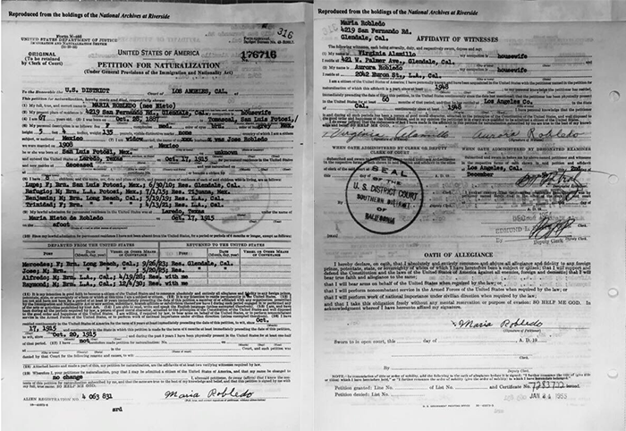Maria Nieto - NARA - 1954 Petition for Naturalization