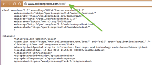 The XML tree for this blog's RSS feed