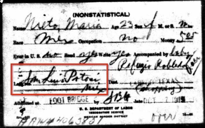 1915 Border Record for Maria Nieto