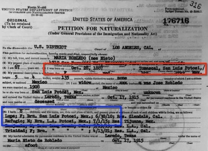 1955 Naturalization Record for Maria Nieto