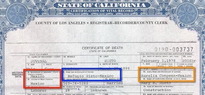1978 Death Certificate for Juvenal Nieto