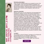 Japanese Immigrant Ancestors Class in Downtown Los Angeles July 22nd