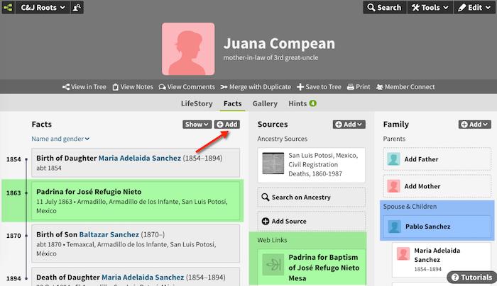 Juana Compean - 1863 - Padrina for Jose Refugio Nieto Mesa