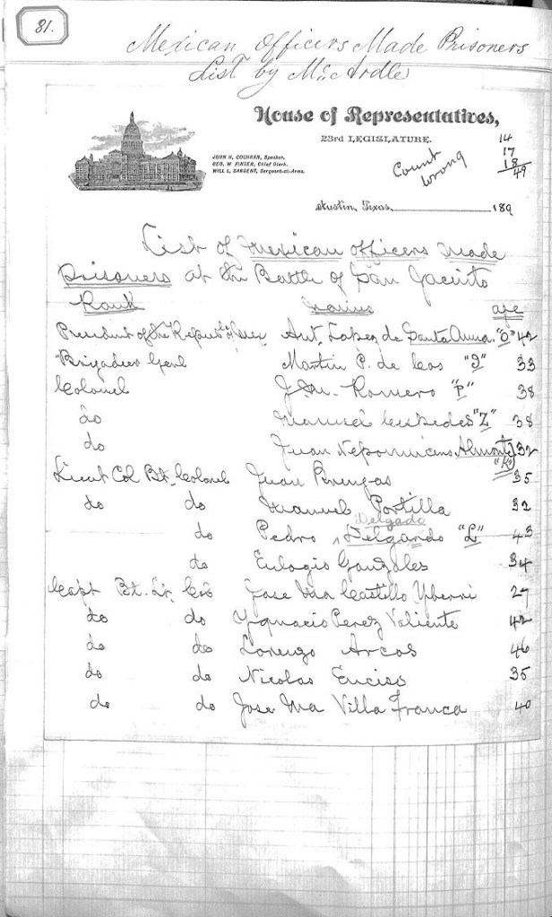 List of Mexican prisoners from the Battle of San Jacinto