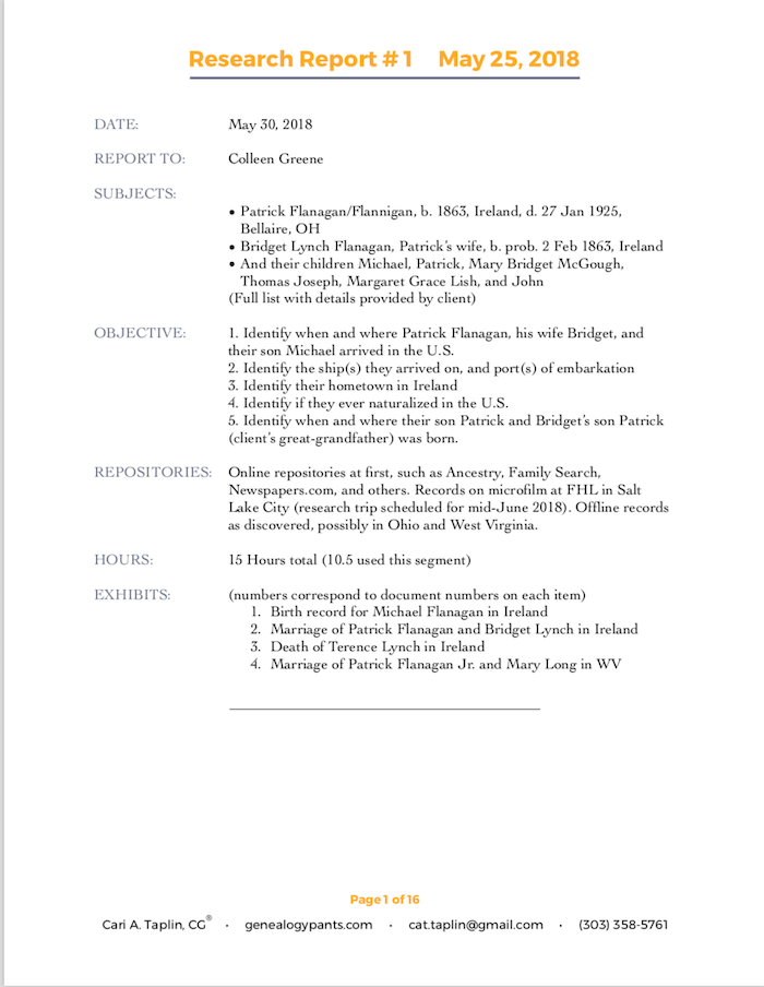 Page one of the 16 page research report written by Car Taplin for my research case. It outlines the prioritized research objectives (scope) and the pre-paid block of research time we agreed upon in our contract.
