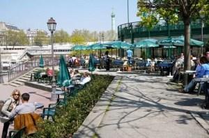 Le Grand Bleu restaurant overlooks Canal Saint Martin in the Bastille neighborhood of Paris