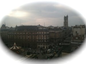 Antique view overlooking the Saint Jacques tower from BHV 5th floor