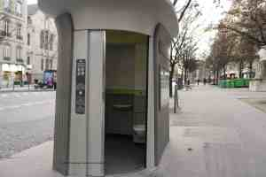 Sanisette Self-cleaning Public Toilet designed by Patrick Jouin free in Paris