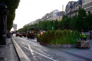 Small trucks setting up Nature Capitale along Champs Elysees