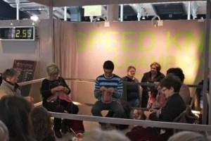 Speedknitting, l'Aiguille en Fete, February 2012 winner Martine Lambert, 240 stitches in 3 minutes