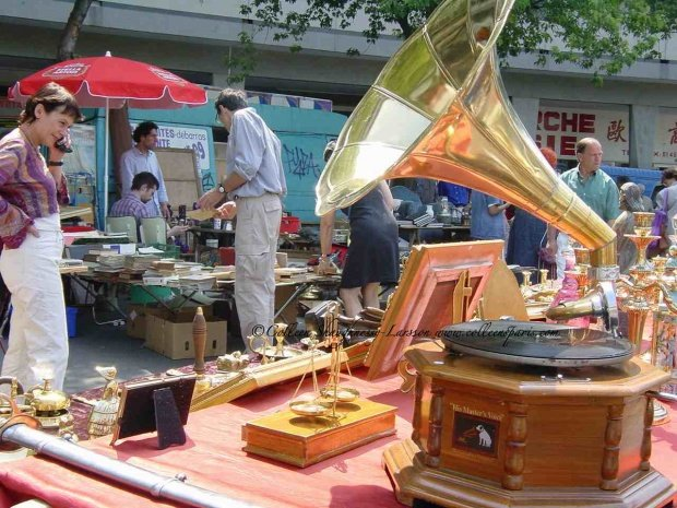 Scene from the Marché Aligre Flea Market Sunday with Gramophone with horn