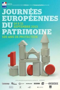 Poster for 2013 (JEP) Journées Européenes du Patrimoine - 30 years of posters - 100 years of historical protection