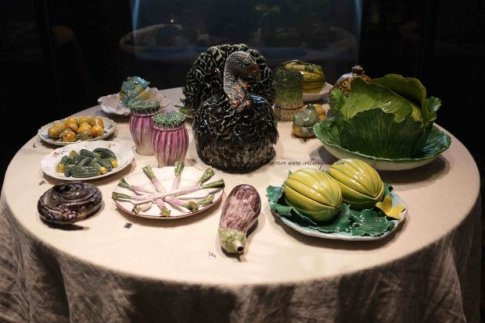 Table set with Trompe l'oeil of vegetables-Ceramic terrines, bowls, vegetable dishes, pots, plates from Belgium, German, Holland, France (1745-1790) at Arts décoratifs museum