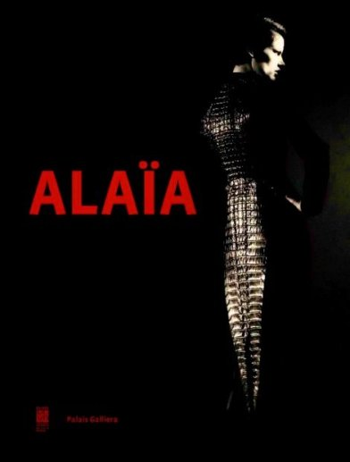 Official poster for Alaïa exhibition and reopening of Palais Galliera, Paris, featuring swallow-tailed jacket of wool cloth and crocodile S/S 2003