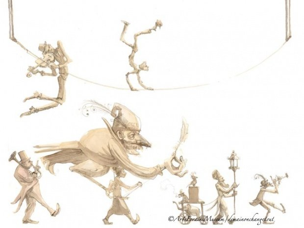 Brochure drawing of the Chimère Orchestra and l'homme-oiseau parade ©ArtsForainsMuseum/demainonchangetout