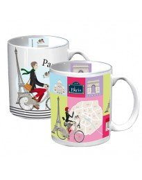Image from Ville de Paris boutique on line of two mugs showing Velib bikes