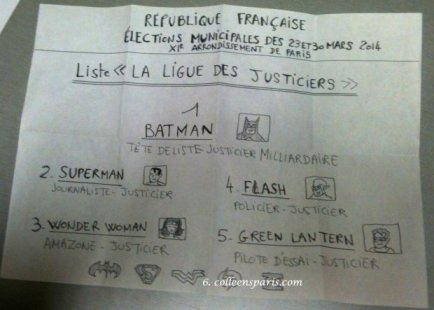 Personalized voting ballot for Batman at the municipal elections in Paris